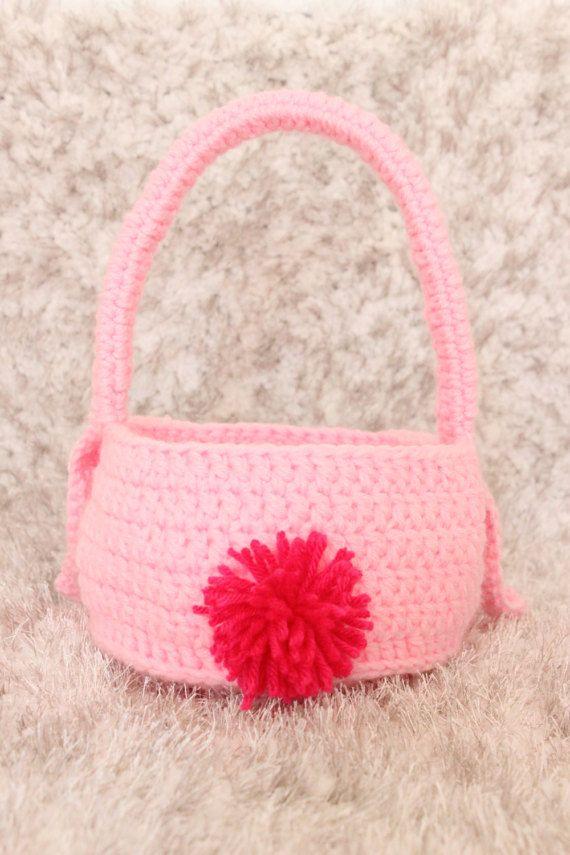 Crochet Easter Basket - Crochet Bunny Gift Basket - Pink Easter ...