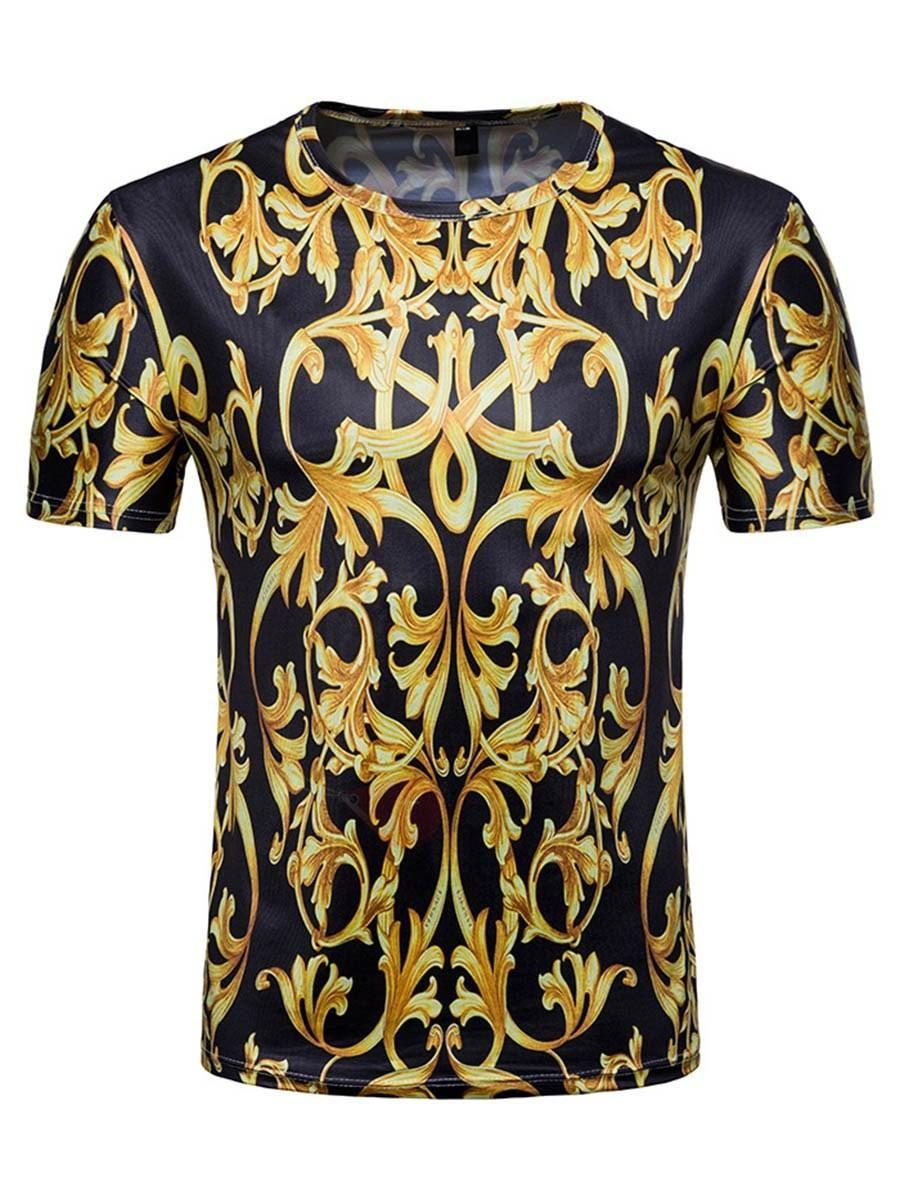 ab33bf10d38  fall  fashion  trends  styles  AdoreWe  TBDress -  TBDress Tidebuy Golden Floral  Print Mens Short Sleeve T-Shirt - AdoreWe.com
