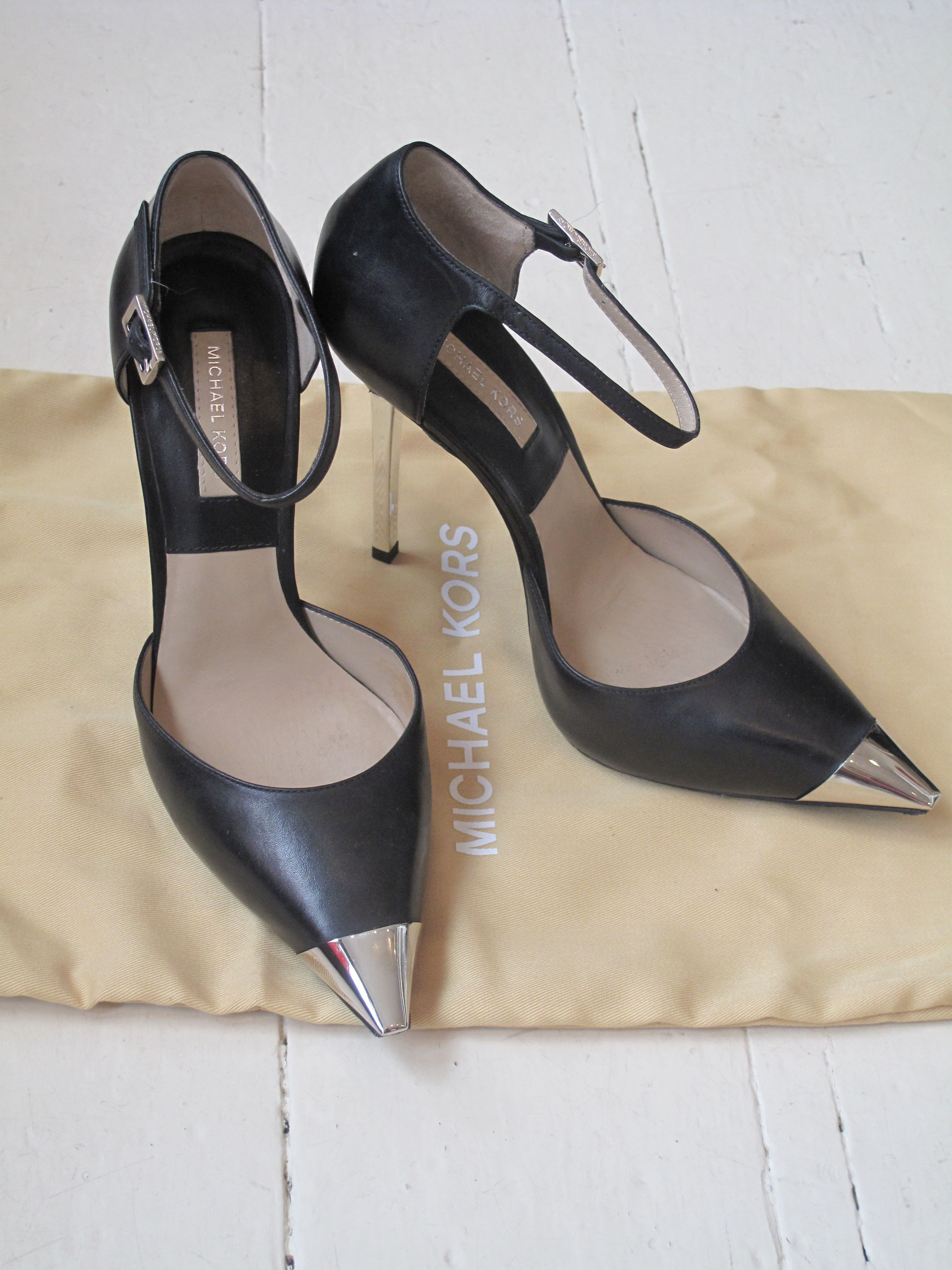 Michael Kors Black Leather Shoes With Silver Tips And Heels