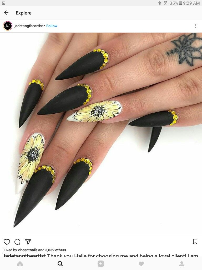 Deff Lie The Sunflower Design Not To Sure About Rest Stiletto Nail Art Matte