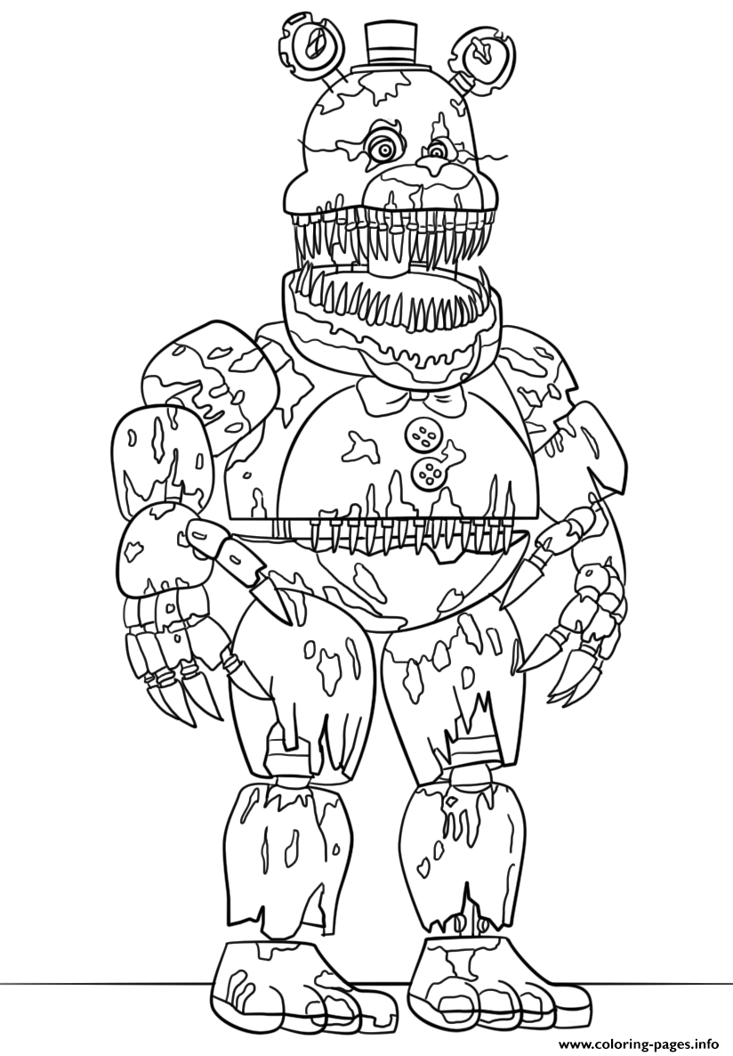 Print Nightmare Fredbear Scary Fnaf Coloring Pages Joe S