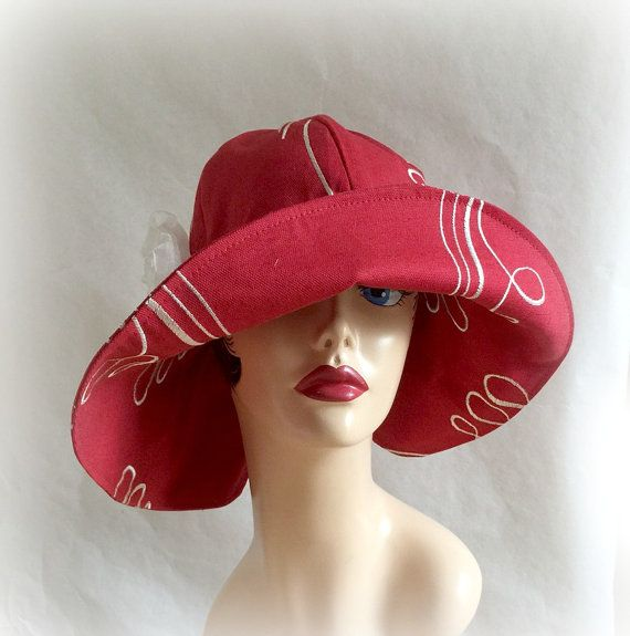 Summer Sunhat Red Hat Large Brim Cloche Derby Occasion