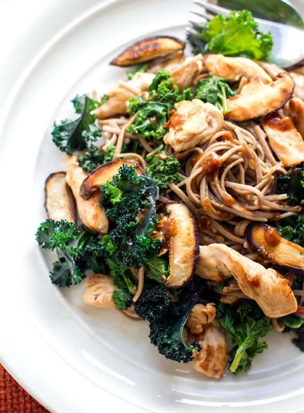 Buckwheat Soba Noodles with Kale, Chicken & Miso Dressing - gluten free, dairy free, real food.