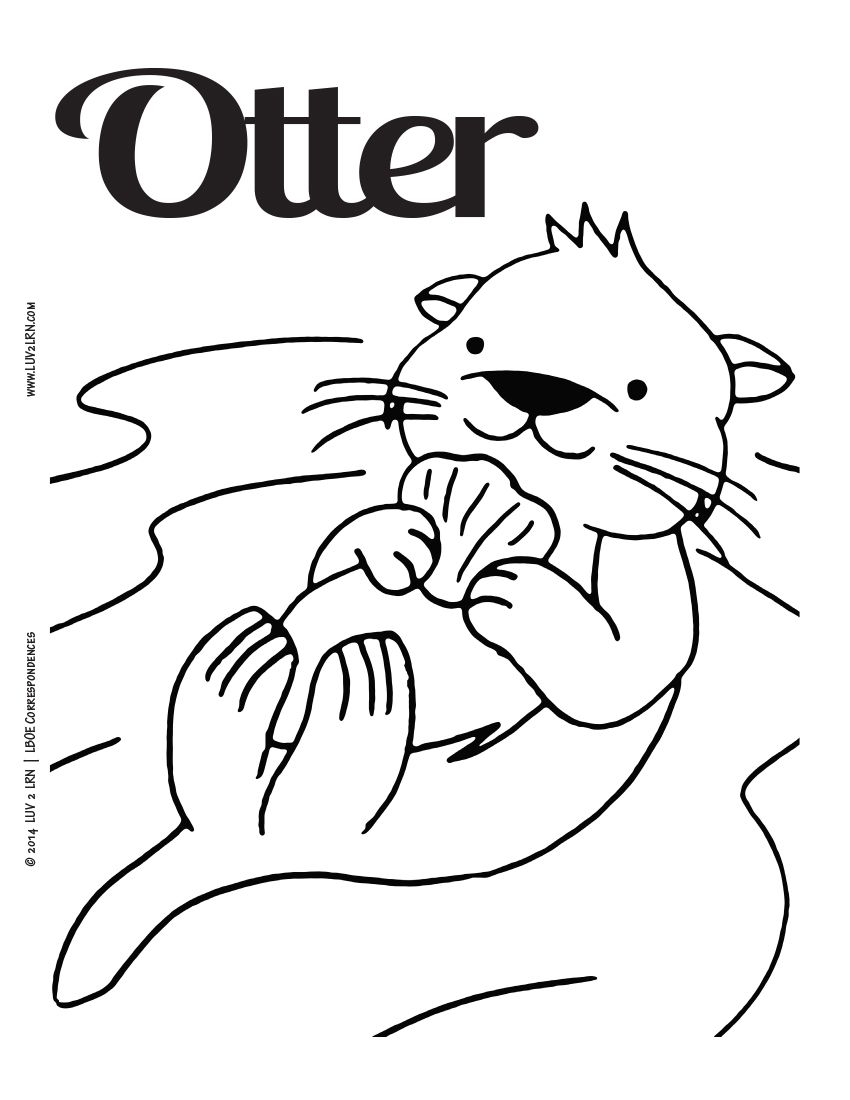 Luv 2 Lrn Printable Page English Otter Please Like Share Comment Tag And Pin It Otters Sea Otter Coloring Pages