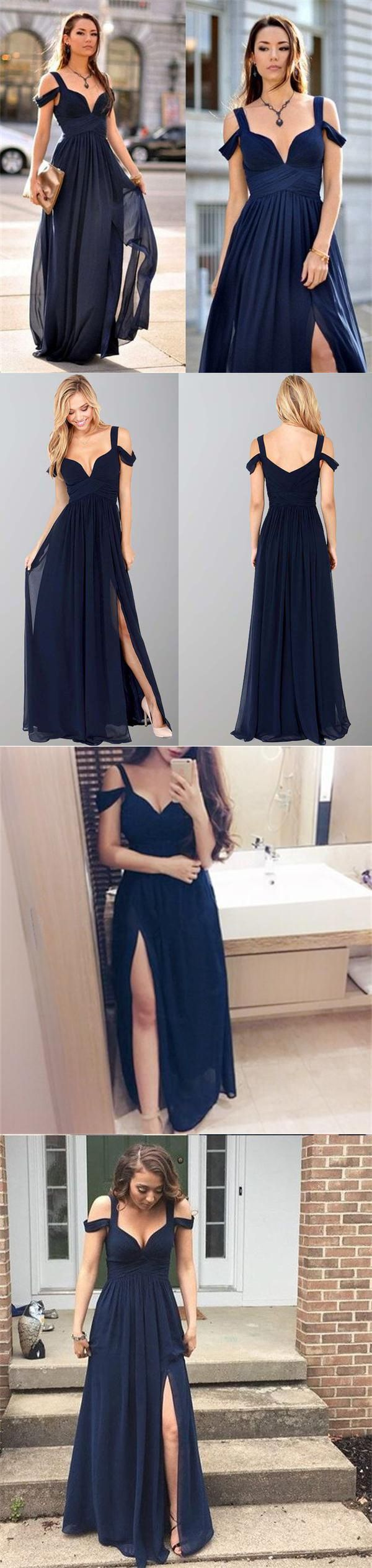 Photo of Beautiful New   Elegant Simple Top Selling Long Navy Blue Ch…