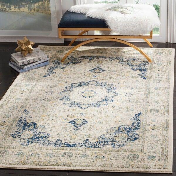 Safavieh Evoke Vintage Oriental Ivory Blue Distressed Rug 12 X