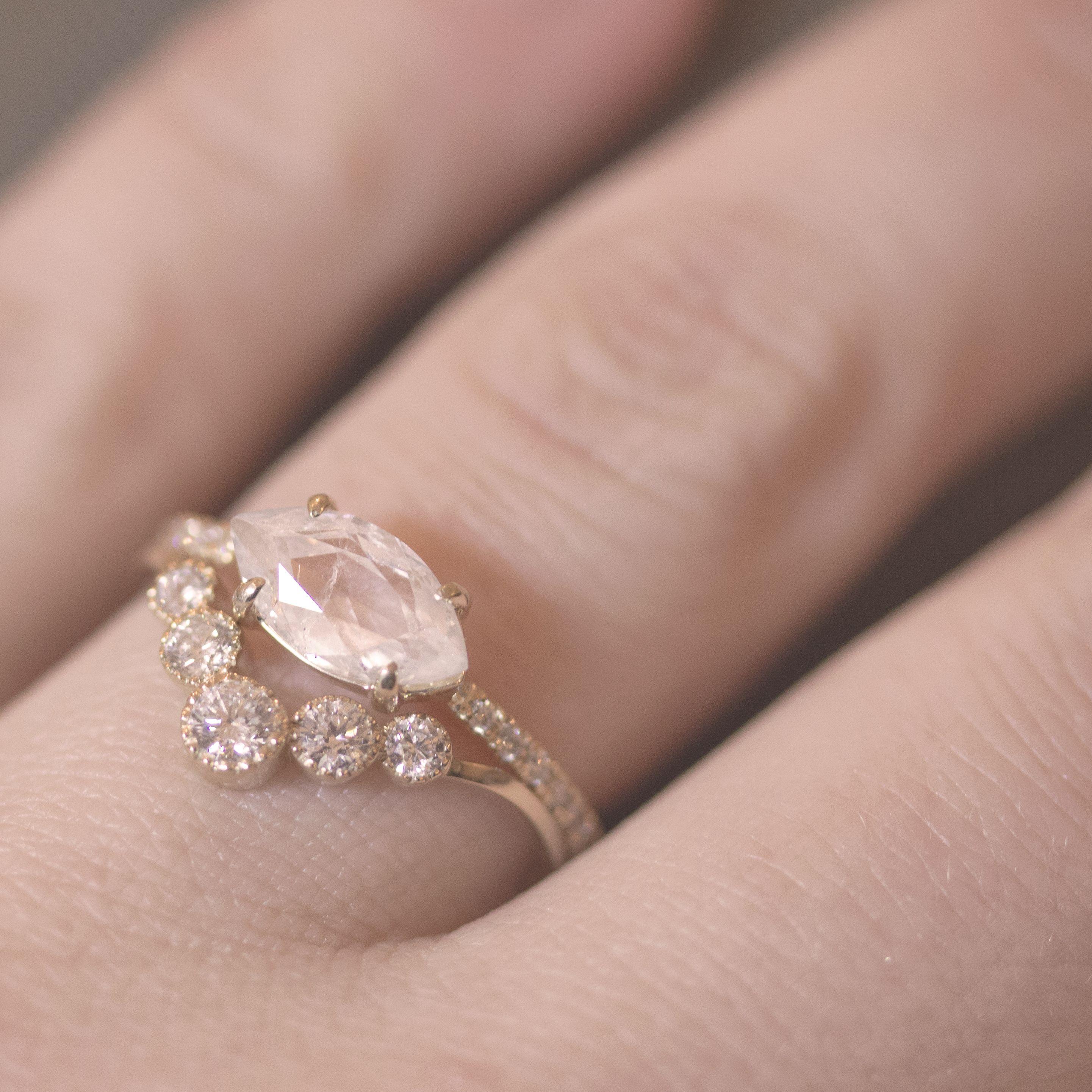 Yellow Gold Kinzie Diamond Ring and Yellow Gold Grey Rosecut ...