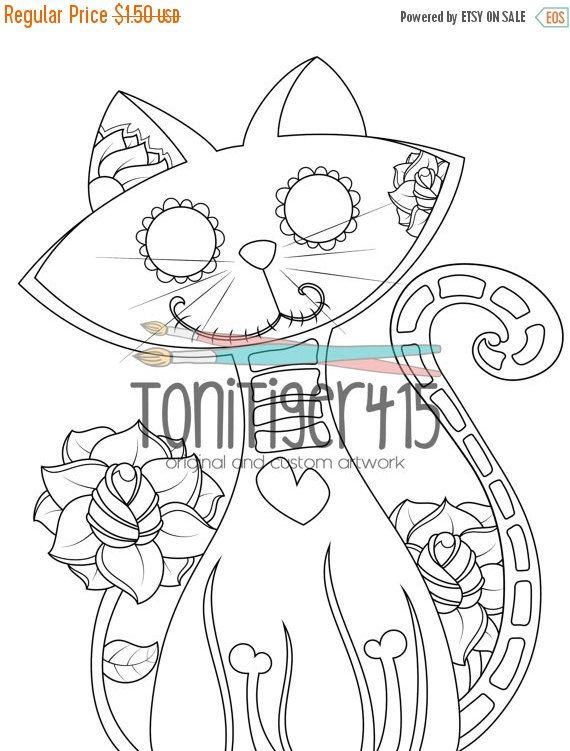 Sugar Skull Cat Drawing, Instant Digital Download Coloring Page ...