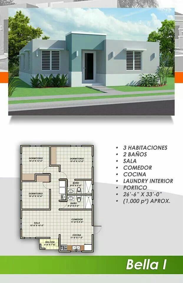 3 Dormitorios 2 Banos 1 Sala De Estar 1 Cocina 1 Comedor Planos De Casas Modernas Planos De Casas Economicas Planos De Casas Sencillas