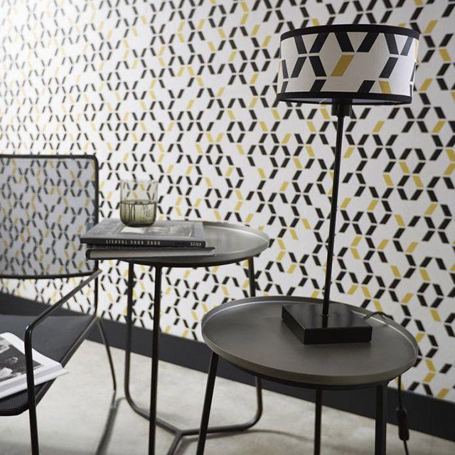 Papier peint duplex Chromo noir jaune - CASTORAMA Déco salle à