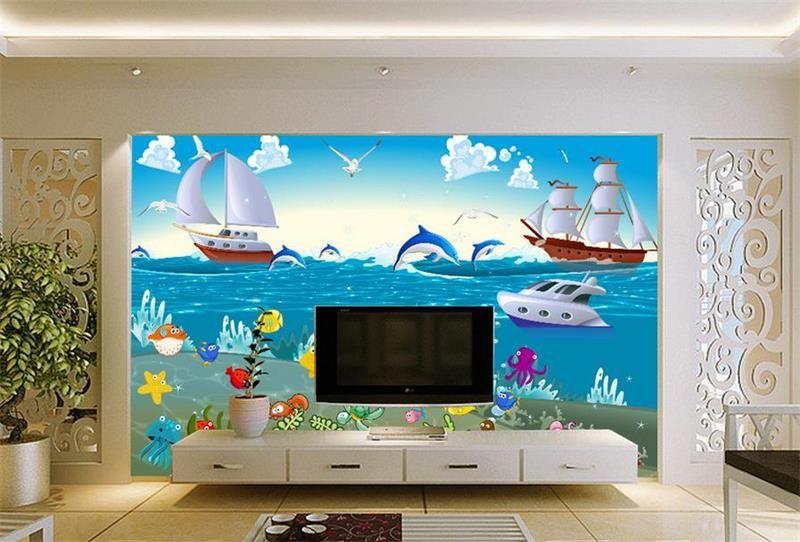 pas cher 3d chambre papier peint personnalis non tiss peintures murales de bande dessin e. Black Bedroom Furniture Sets. Home Design Ideas