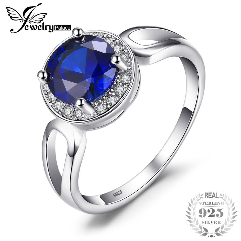 JewelryPalace Women's Fasion Square Cut Gemstone Created Blue Sapphire Engagement 925 Sterling Silver Ring