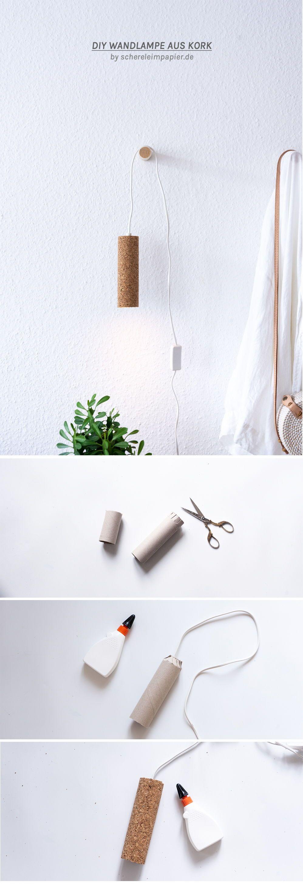 DIY Lampe basteln - eine Upcycling Idee mit Kork & Pappe