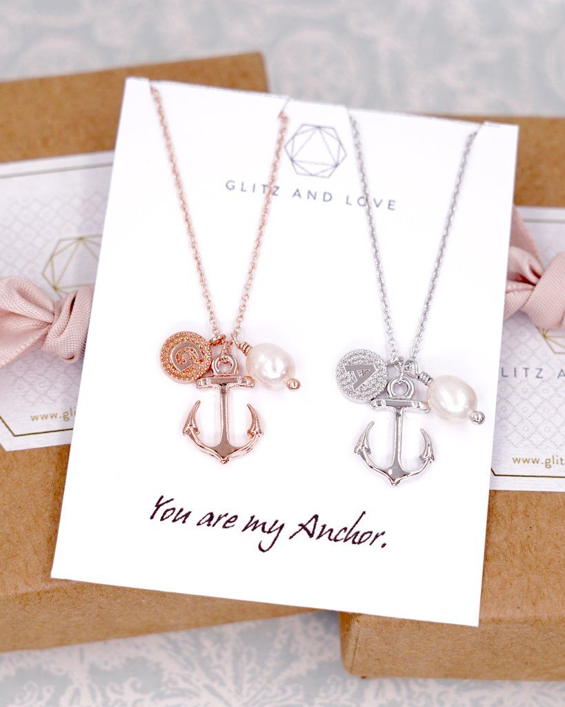 Simple Anchor Necklace Nautical Beach Wedding Bridesmaid Jewelry