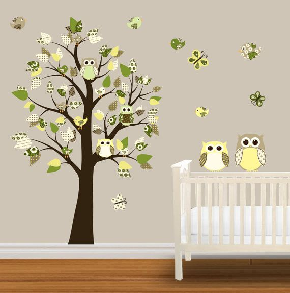 Children Wall Decal Nursery Vinyl Wall Stickers Owl Wall Decals - Vinyl wall decals butterflies