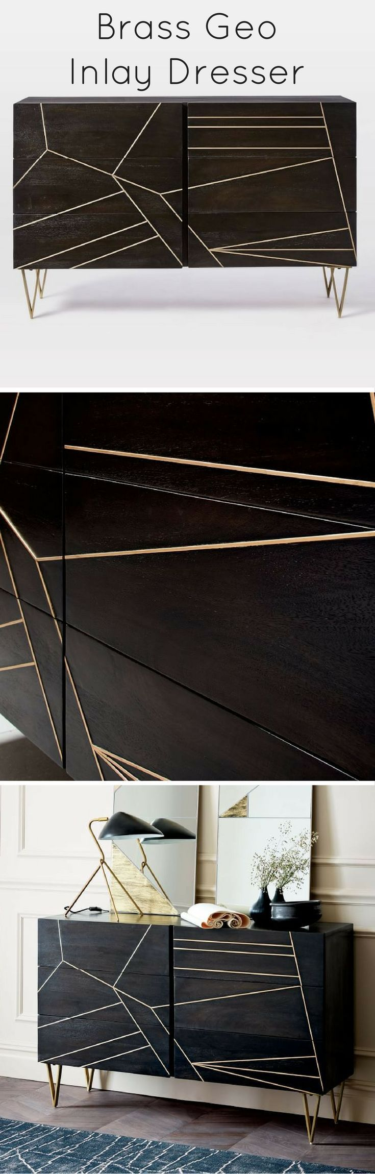 Antique brassfinished metal is inlaid into wood for a modern luxe