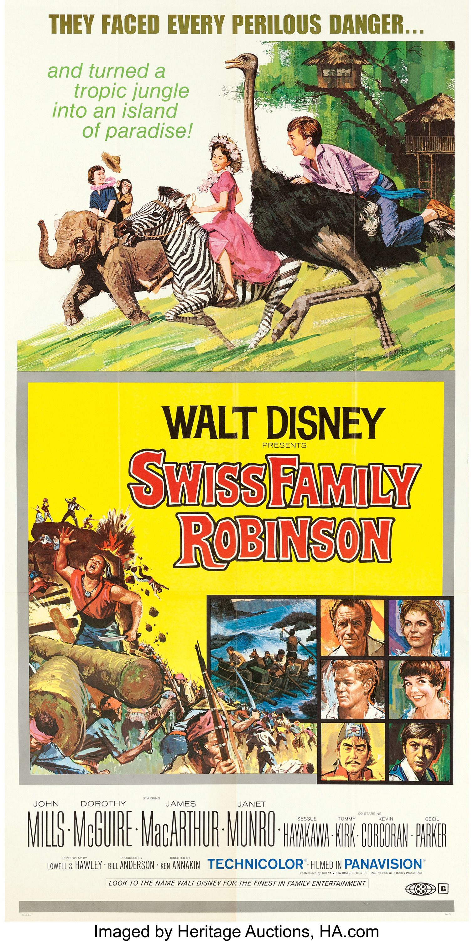 Swiss Family Robinson Theatrical Reissue Poster Walt