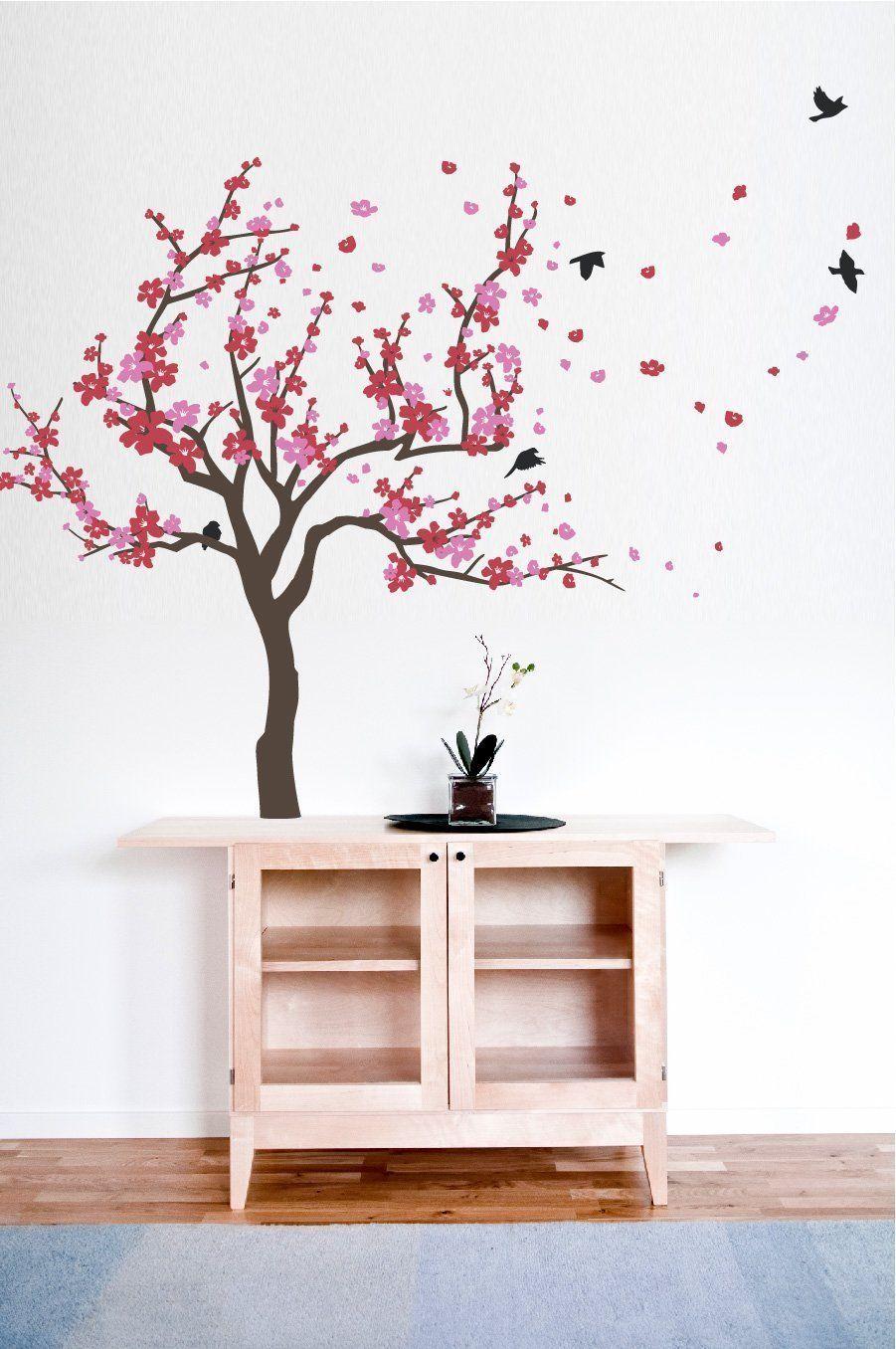 New Japanese Cherry Blossom Tree And Birds Wall Decal Sticker For Baby Nursery Stena Trafarety