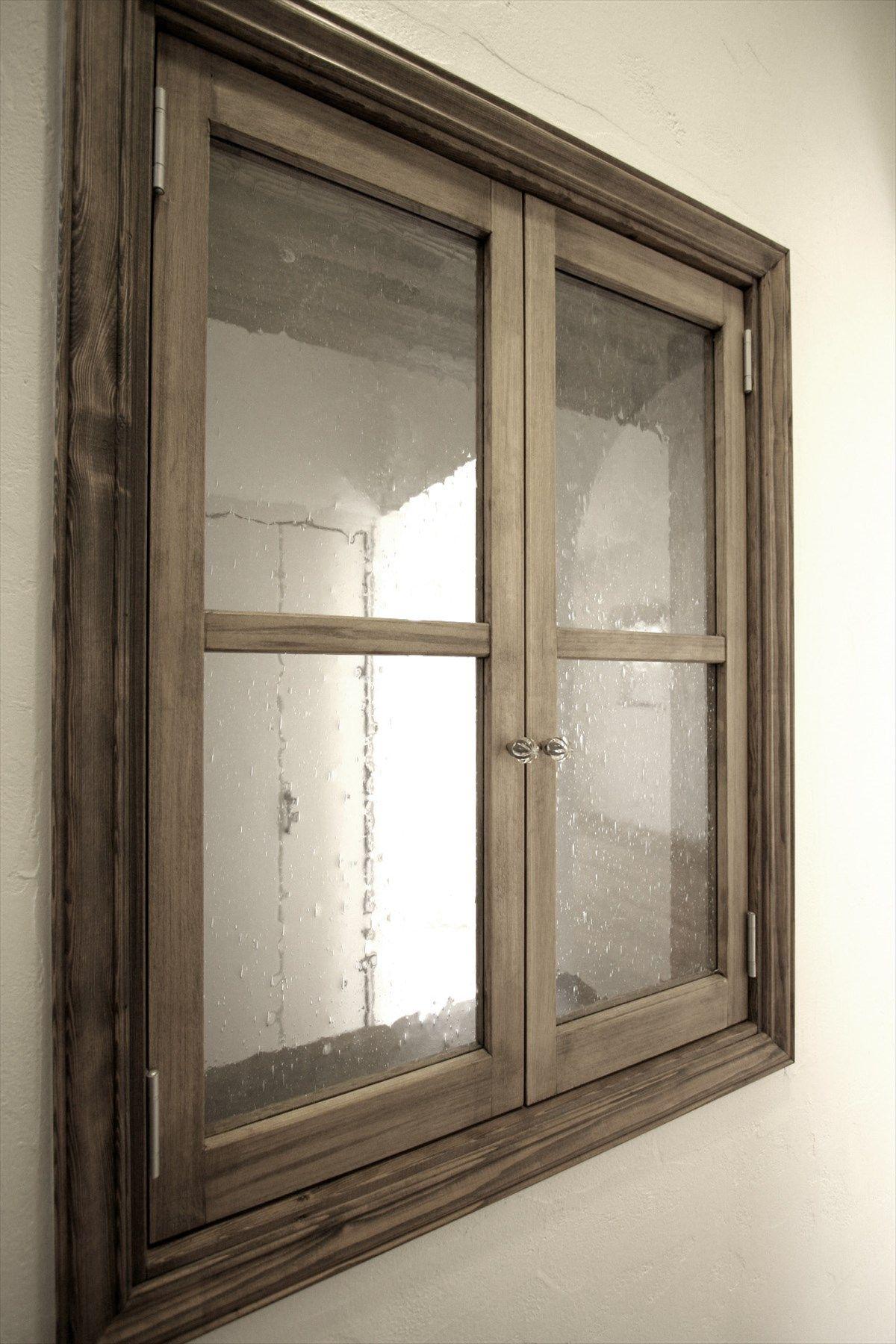 造作小窓室内窓飾り窓両開き窓ガラス枠インテリアナチュラル