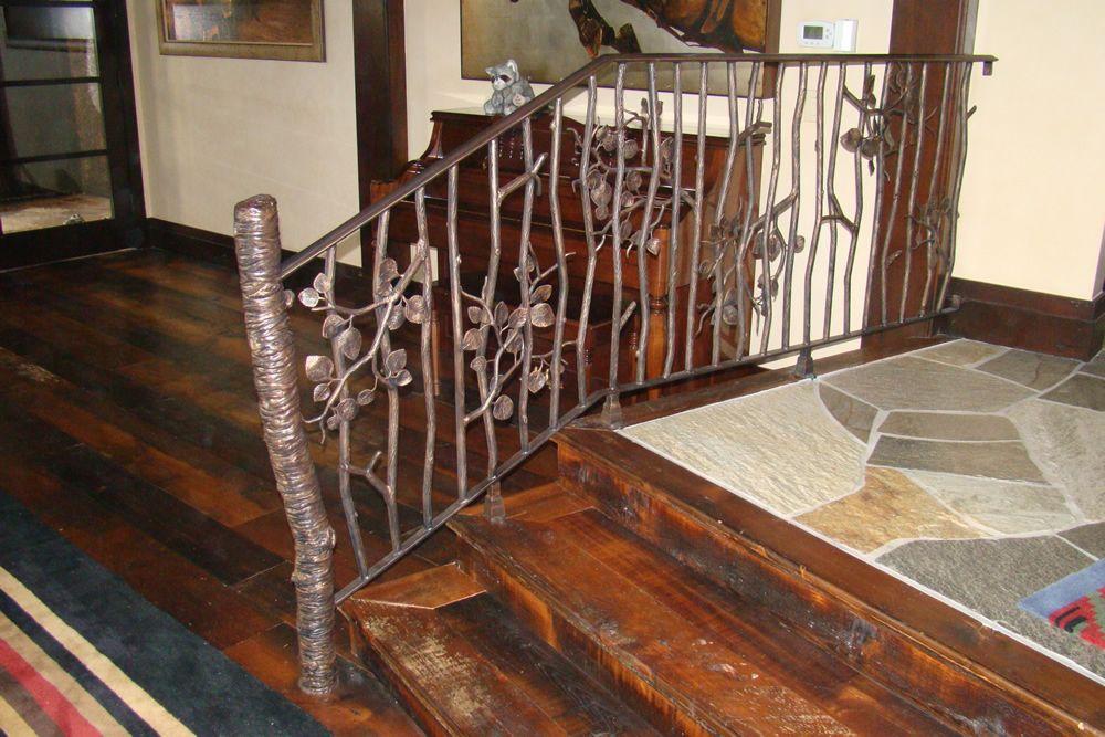 Hand Forged Iron and Bronze Railing   Steel handrail, Hand ...