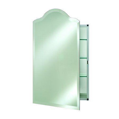 Genial Scallop Top Framess Bevel Medicine Cabinet  Hinge Right Small
