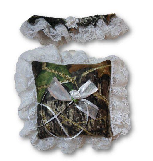 Mossy Oak Ring Pillow Amp White Lace Garter 2PC Set For MOBU Camo Wedding USA Price 6999 5