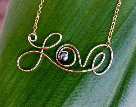 Wire Love Neckalce Sterling Silver Gold by shandahawaiiandesign, $55.00