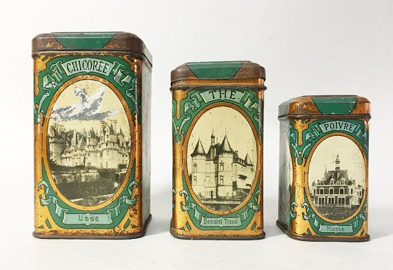 3 French Vintage Kitchen Canisters with Lid - Castles of France - Early Twentieth Century - Collectibles Tin Boxes