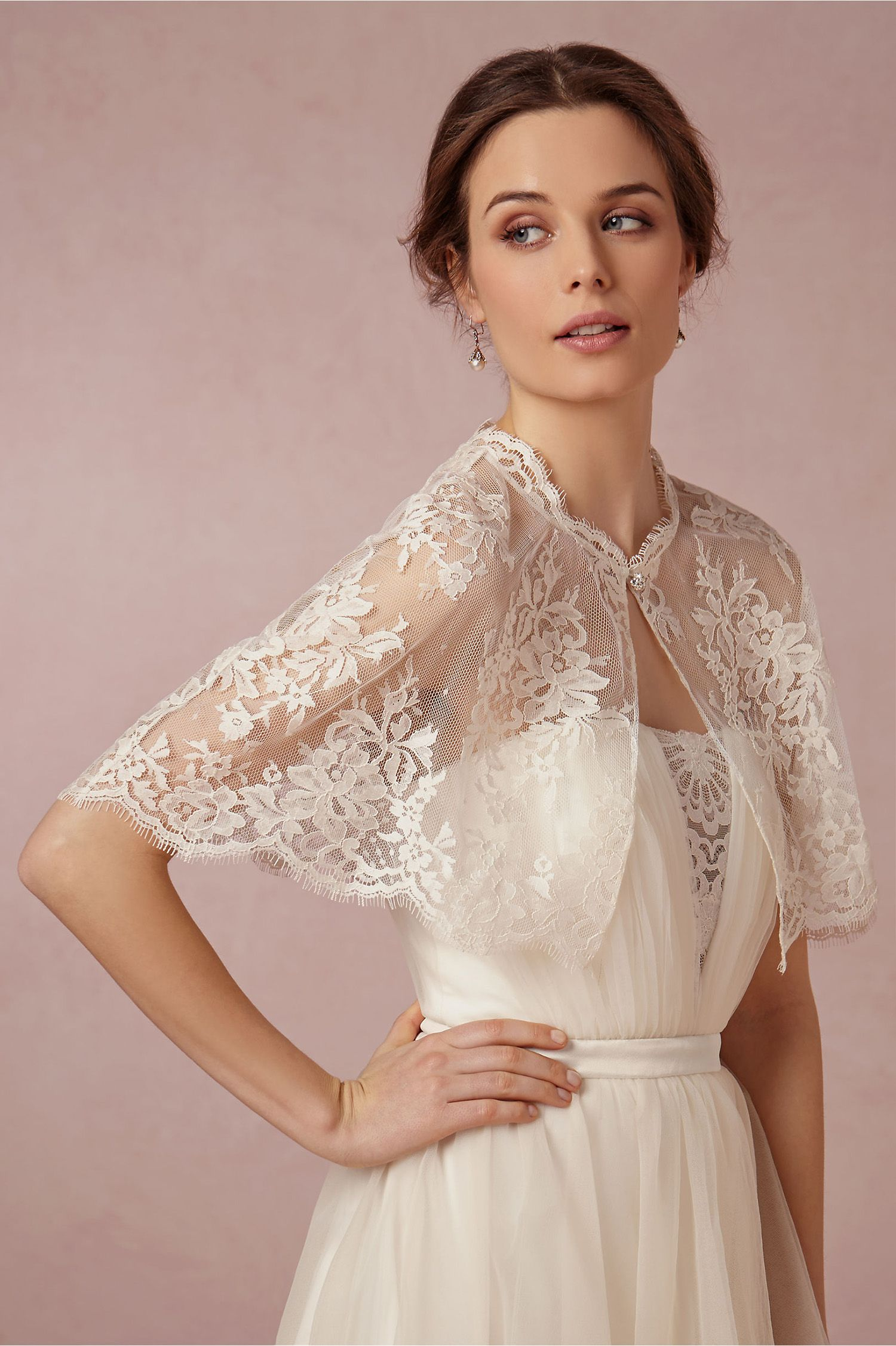 Bridal Coverup Wrap Shrug Wedding Dress Lace White