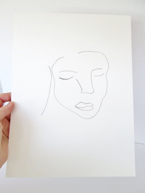 Original abstract face pencil drawing minimalist female by artseas