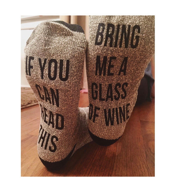 Man Gift Dad Gift Give Me The Remote Socks If You Can Read This Socks Bring Me a Glass of Wine Socks Bring Me a Beer Socks