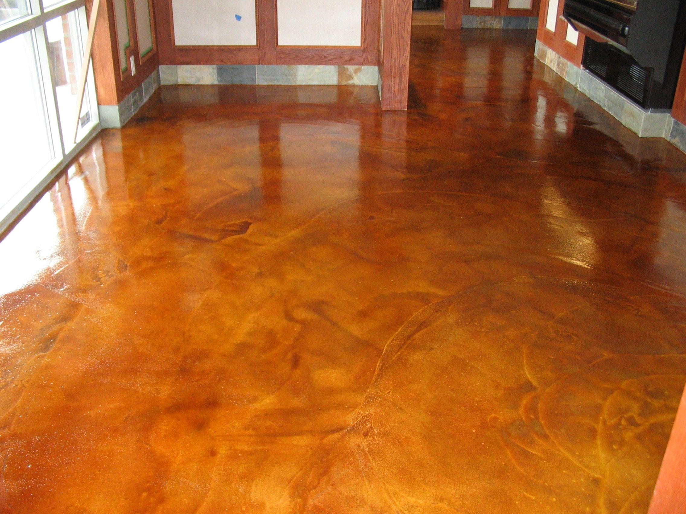 Rustic Concrete Floors High Gloss Acid Staining Concrete Floors Ideas For Rustic Home Design