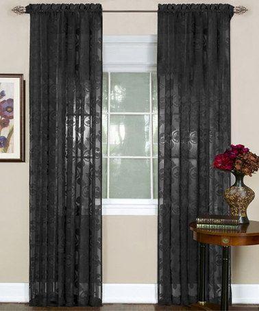 Black Fleur De Lis Curtain Panel Panel Curtains Home Curtains