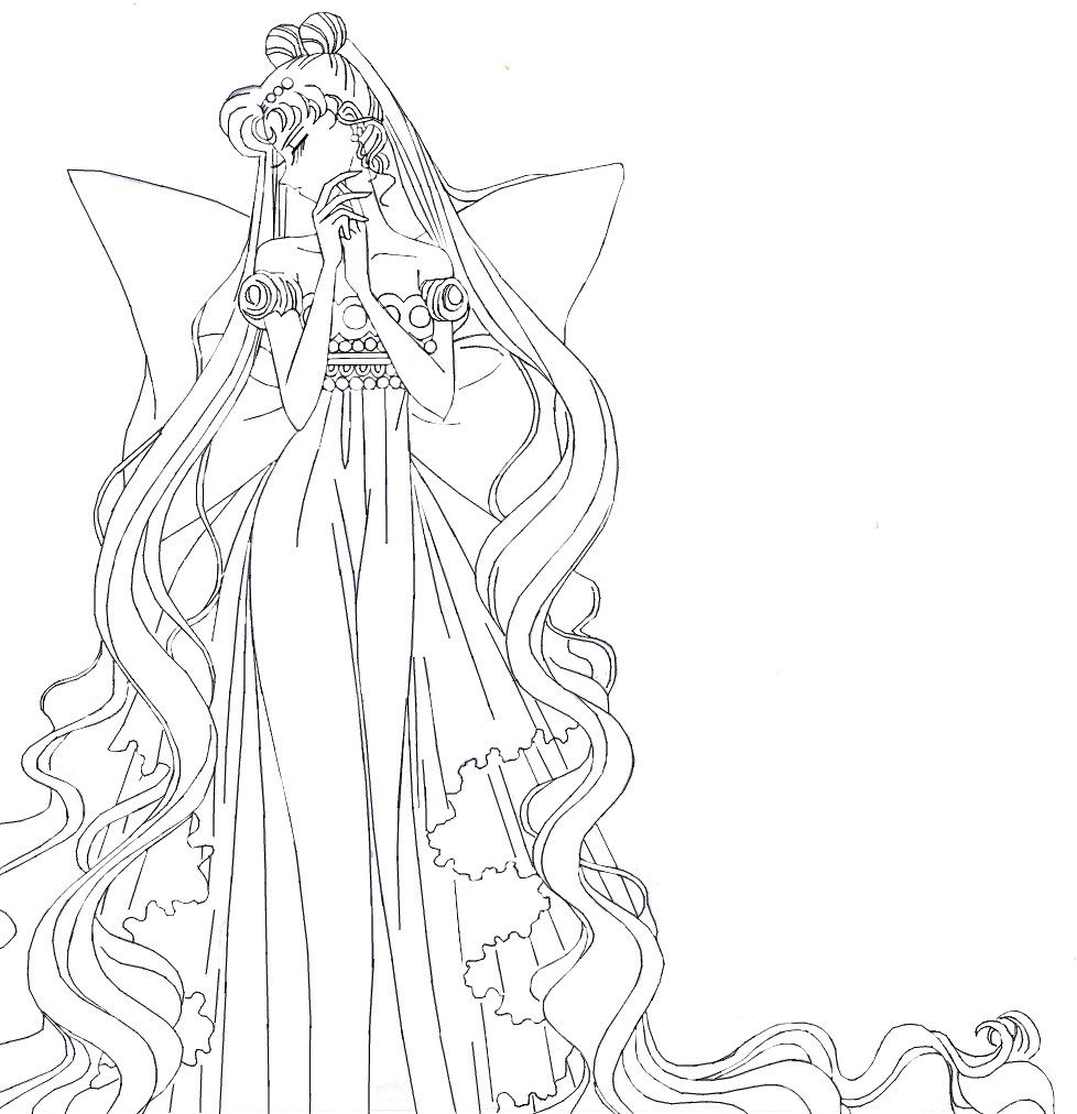 Neo Queen Serenity (from 3rd arc) - lineart by MissLily1990 on DeviantArt