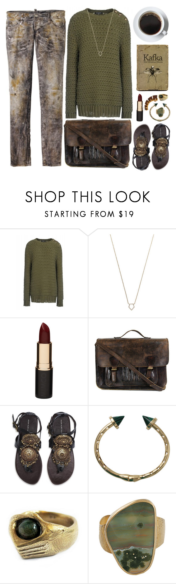 """""""Untitled VIII"""" by captainsolo ❤ liked on Polyvore featuring Balmain, Dsquared2, Monique Péan, Mimco, Priestley's Vintage, Kurt Geiger, Eddie Borgo, Leah Ball, Caterina Zangrando and Gogreen"""