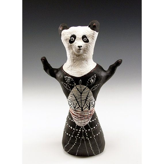 Original Hand Sculpted Ceramic Panda  One of a Kind by jennymendes $295.00