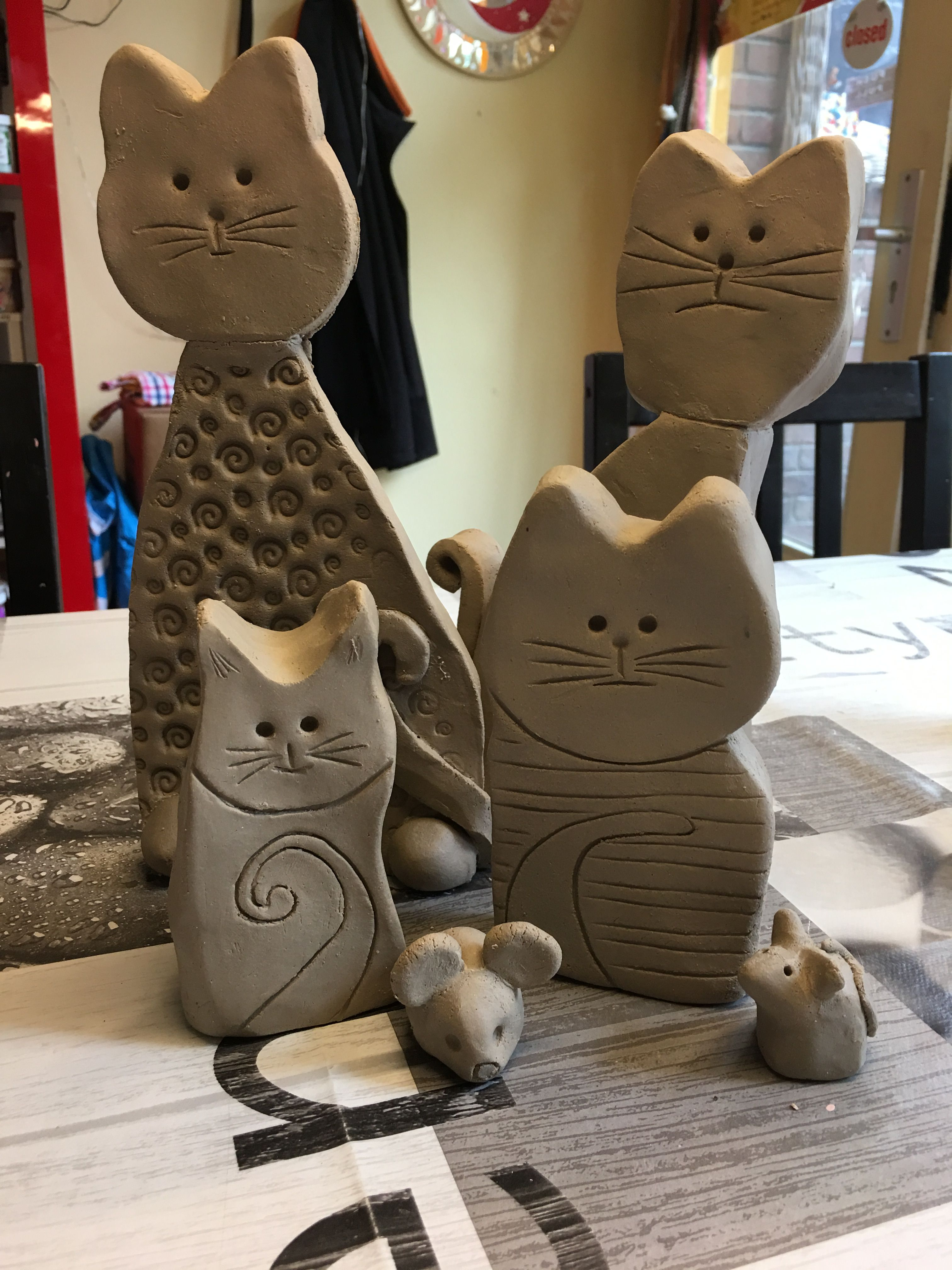 Ceramic Cat Clay Crafts Ceramics Projects Kids Pottery