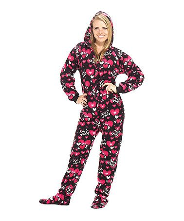 38996dca78 Take a look at this Black Hearts   Skulls Hooded Footie Pajamas - Adults by Footed  Pajamas on  zulily today!