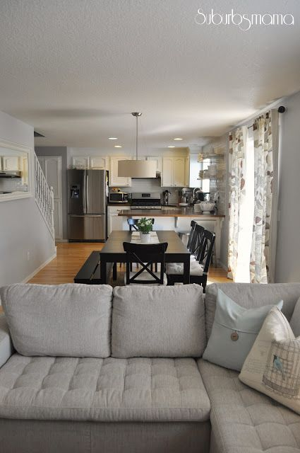 Living Room Kitchen Dining Layouts Picture Frames For Wall And All In One Good Layout Love The Use Of Bench To Keep It Open Easy Walk Through