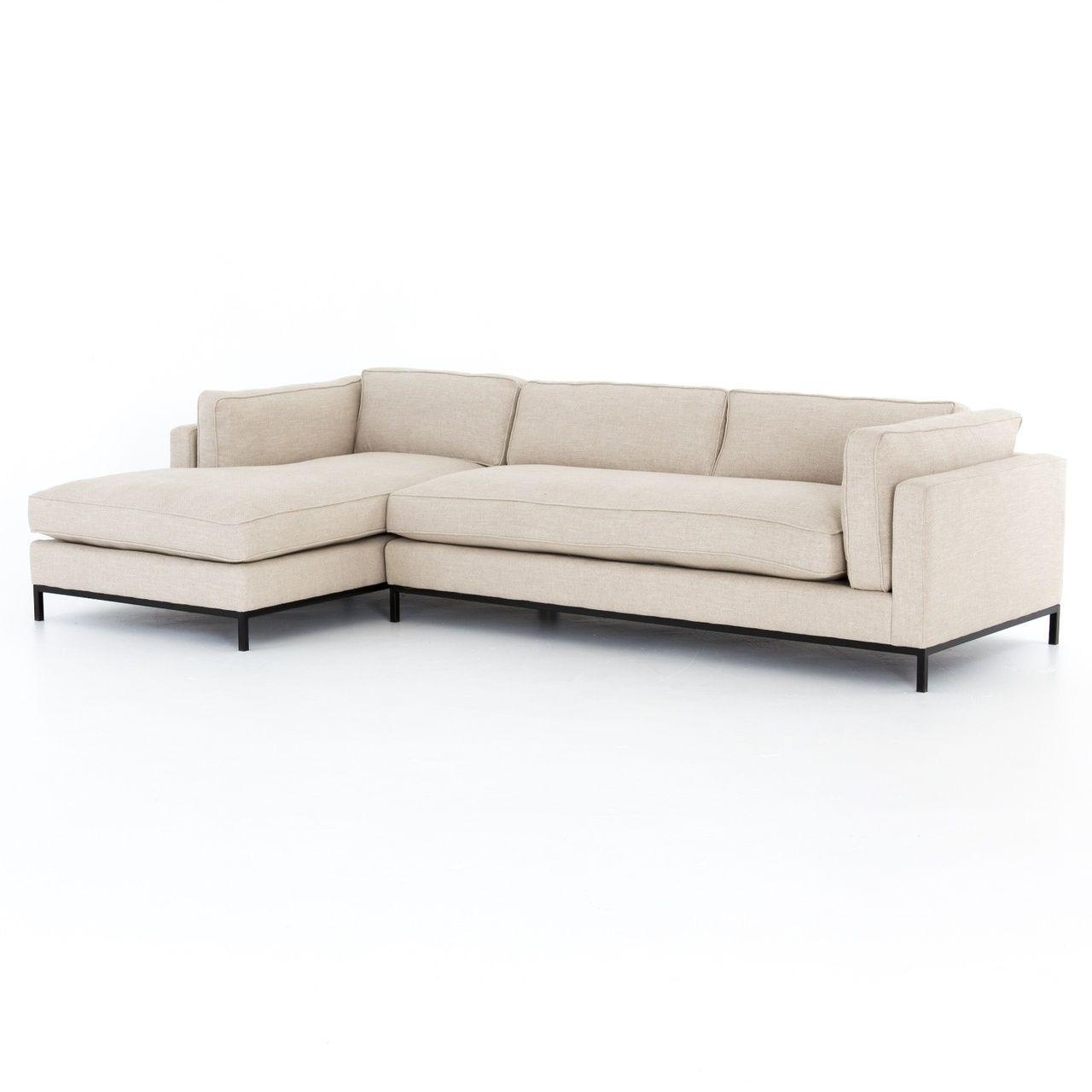 Grammercy Modern Sand Fabric 2 Piece Sectional Sofa 2 Piece