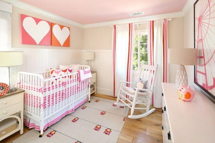 Fancy Babyzimmer f r M dchen in rosa orange und wei