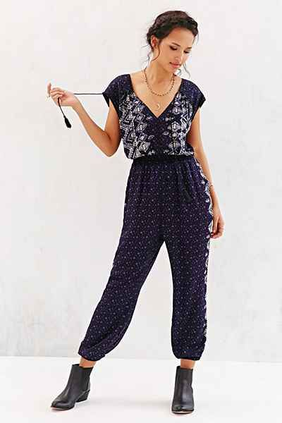 Ecote Rayon Border Print Larke Jumpsuit - Urban Outfitters