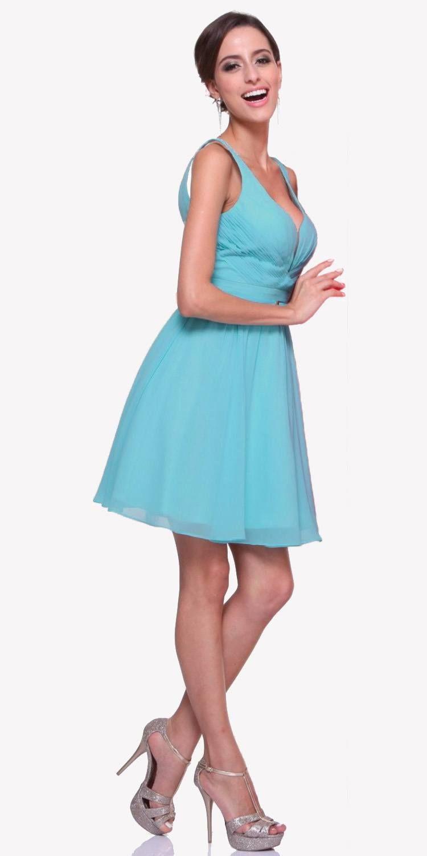 Short wide strap coral semi formal gown a line chiffon bridesmaid