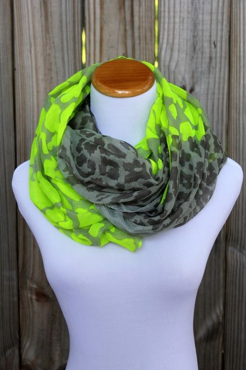 c7013a21d1 Neon Green Animal Print Scarf - Neon Green Animal Print - Infinity Scarf -  100% Viscose - Very light and soft