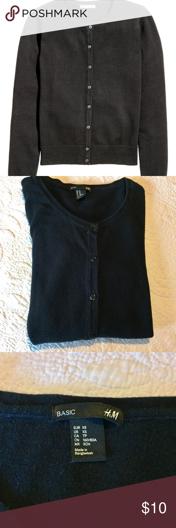 Comfy H&M basic black cardigan sweater | Black cardigan sweater ...
