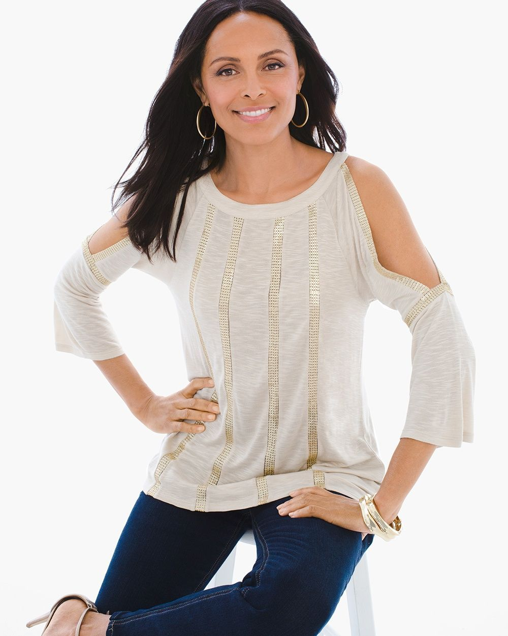 a111be632ab99 Chico s Women s Sequin Cold-Shoulder Top