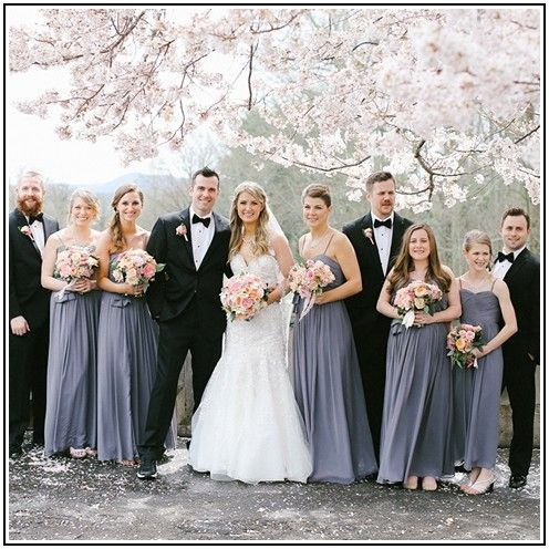 Grey Bridesmaid Dresses With Black Tuxedos