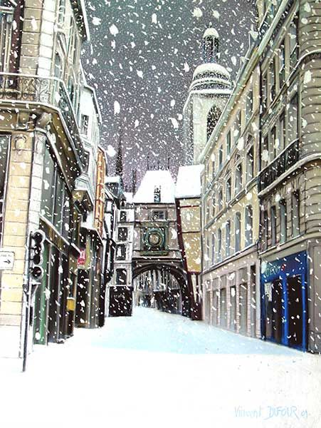 tableau rue du gros horloge de rouen sous la neige 3 de vincent dufour pastel sec de 60 80cm. Black Bedroom Furniture Sets. Home Design Ideas