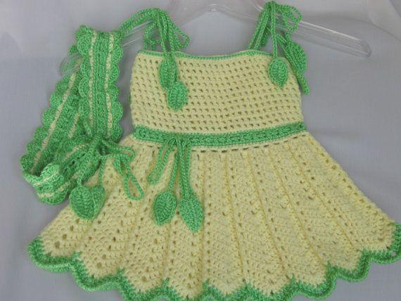 Handmade Yellow Baby Girl Crochet Dress and Head Band Set | Amarillo ...