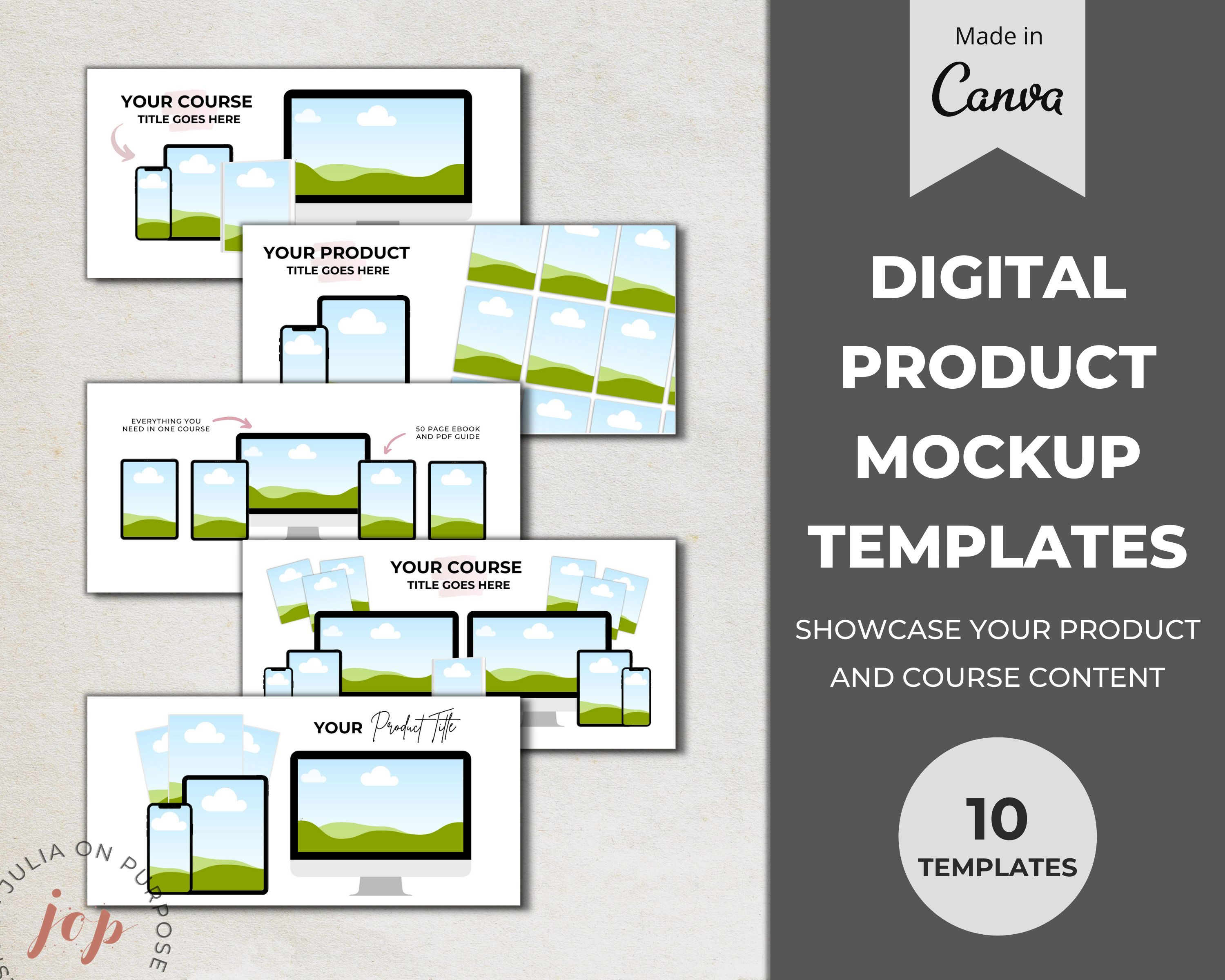 Online Course Mockup Templates Digital Product Tech Mockups Etsy In 2021 Mockup Templates Ebook Template Stock Photo Sites